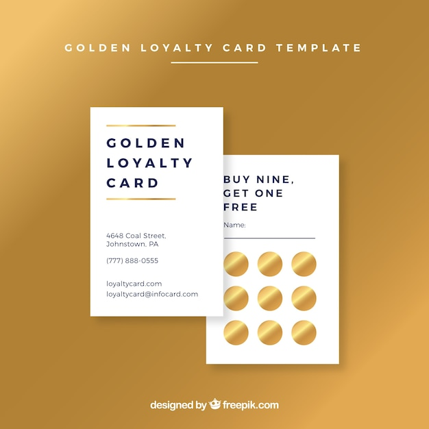 golden loyalty card template free vector. Black Bedroom Furniture Sets. Home Design Ideas