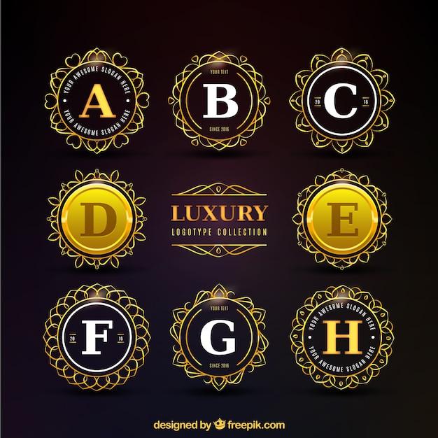 Golden Luxury Circular Logo Collection Vector
