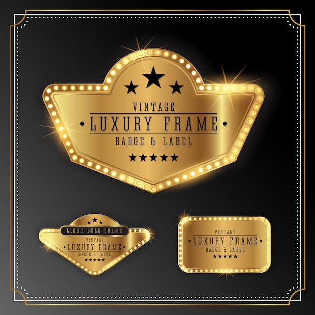 Golden luxury frame with bulb light border. golden shine label banner design Free Vector