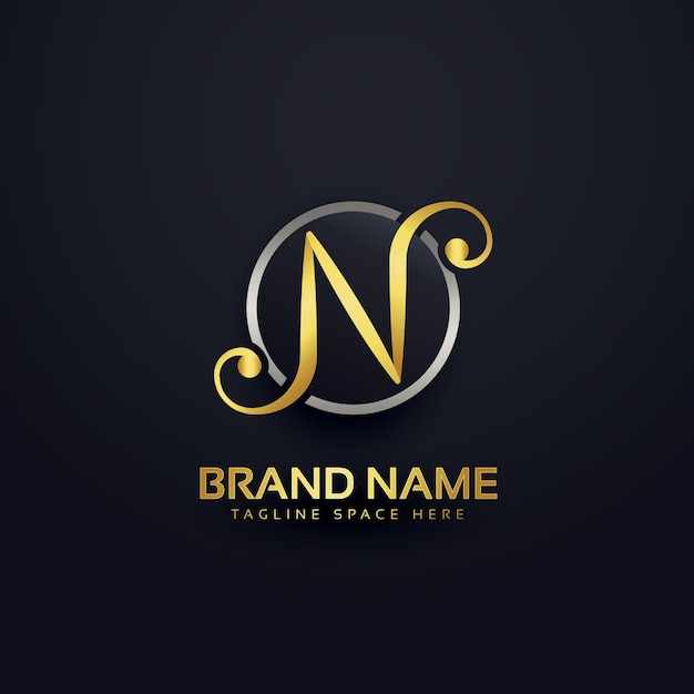 Golden luxury letter n logo design Free Vector