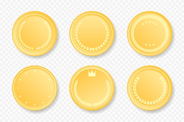 Golden luxury round frames collection. vector illustration. gold color badge stickers set with laurel wreath, stars, crown Premium Vector