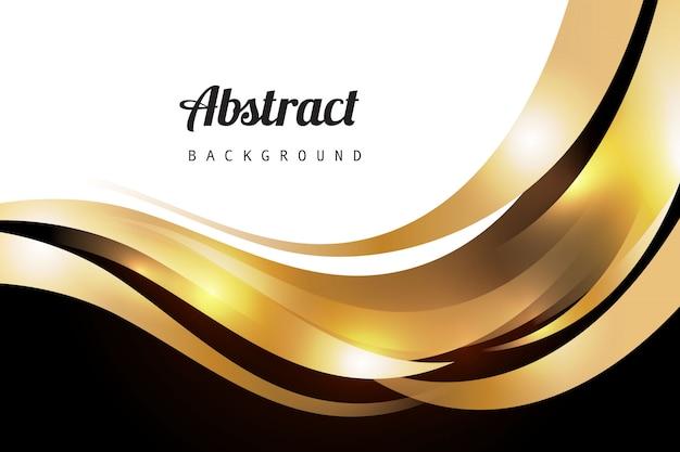 Golden luxury wavy background Free Vector