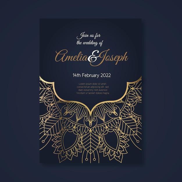 Modello di invito a nozze di lusso dorato Vettore gratuito