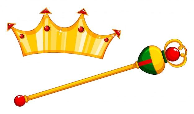 Золотая булава и корона Бесплатные векторы