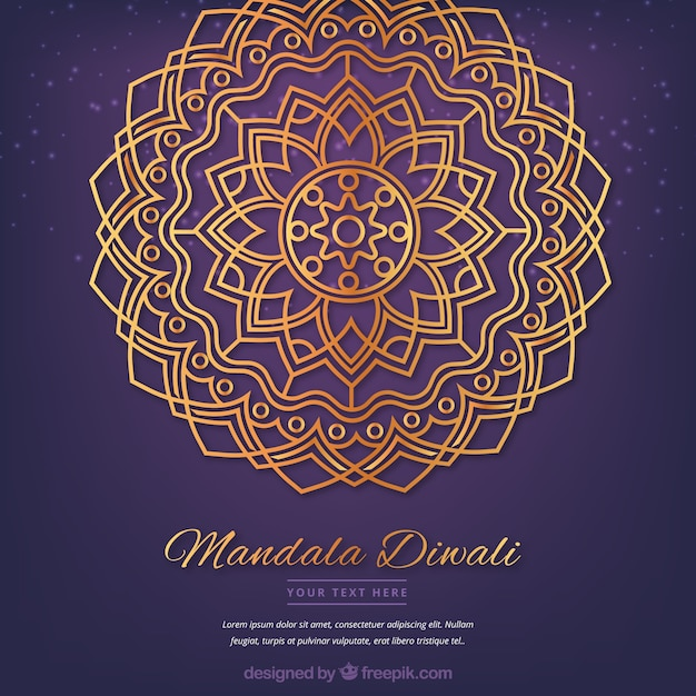 Free Vector Golden Mandala Diwali