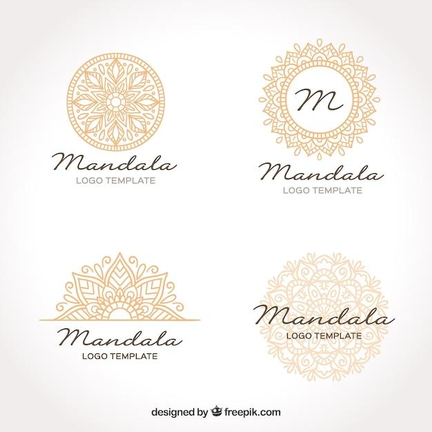 Golden mandala logo template Free Vector