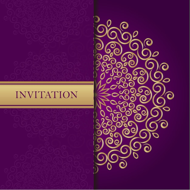 Golden mandala on purple background Vector | Free Download