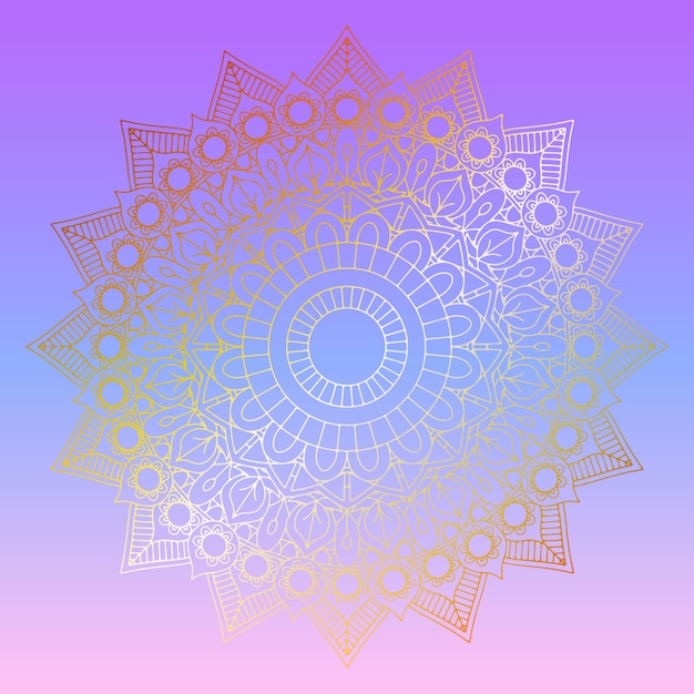 Golden mandala on pastel gradient background Free Vector