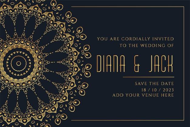 Modello di carta di nozze stile mandala dorato Vettore gratuito