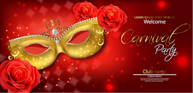 Golden mask and red rose Premium Vector