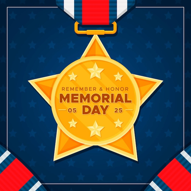 Giorno della memoria design piatto medaglia d'oro Vettore gratuito