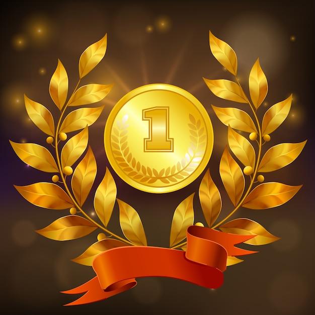 月桂樹の花輪と赤いリボンの現実的な構成と黄金メダル 無料ベクター