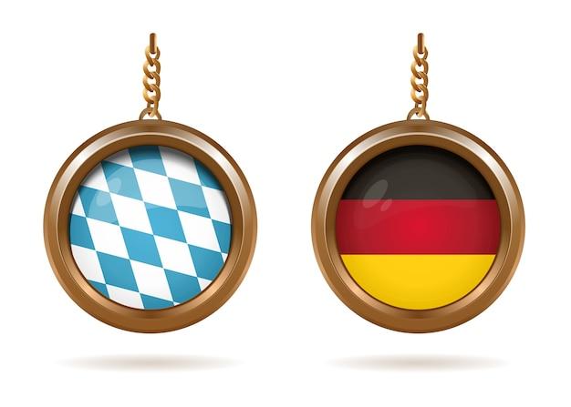 Золотые медальоны с баварским и немецким флагами внутри. сине-белый клетчатый баварский флаг и немецкий триколор. Premium векторы
