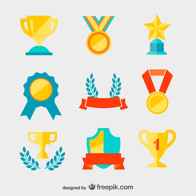 Golden medals and trophies Free Vector