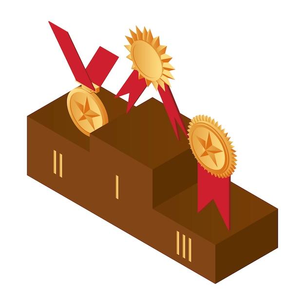 表彰台に金メダル 1位 2位 3位のイラスト プレミアムベクター