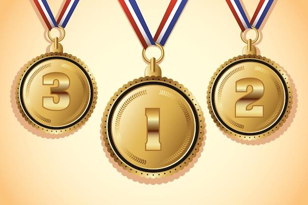Золотые медали с тремя значками мест Premium векторы