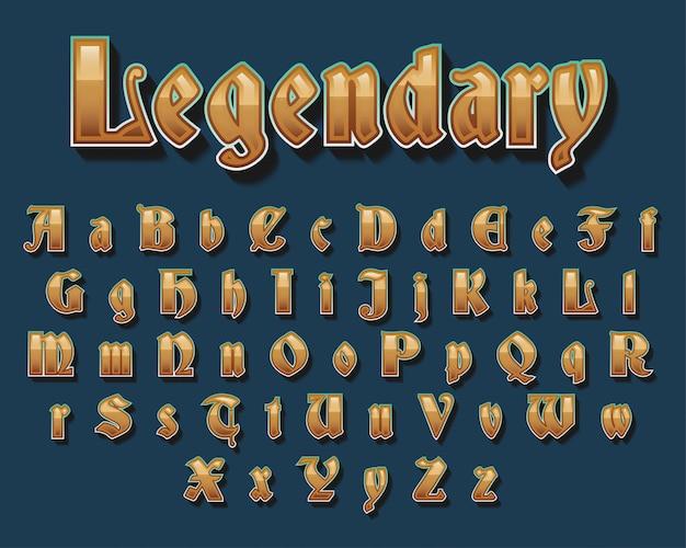 Golden medieval typography font design Premium Vector