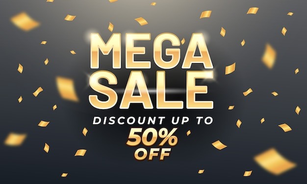 Golden mega sale banner template with gold confetti Premium Vector