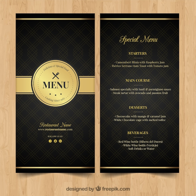Elegant Chef Logo: Golden Menu For Elegant Restaurant Vector