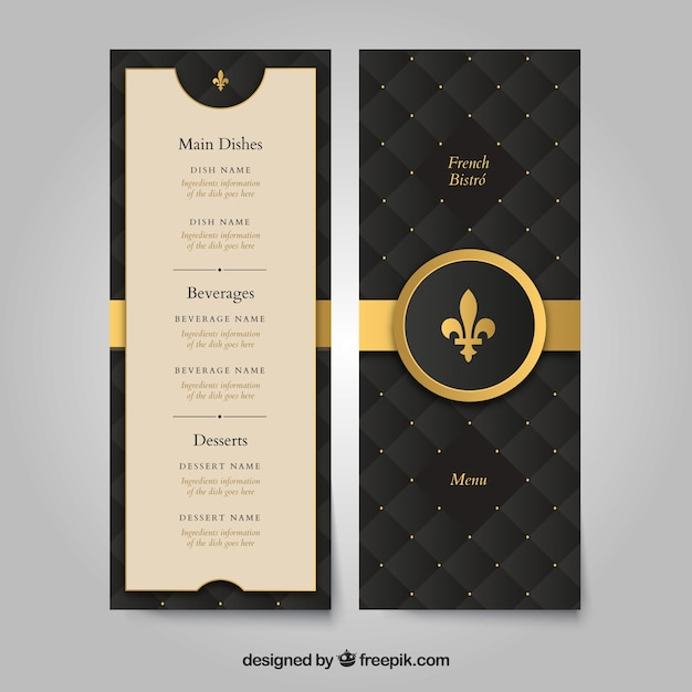 Golden menu template with classic style Free Vector
