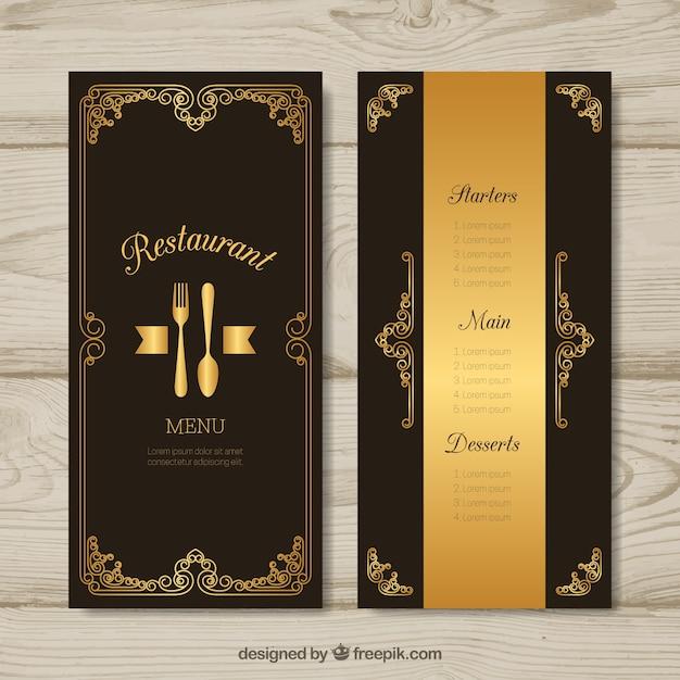 Golden menu template with vintage frame vector free download