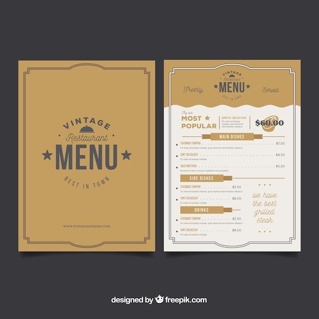 Golden menu template Free Vector