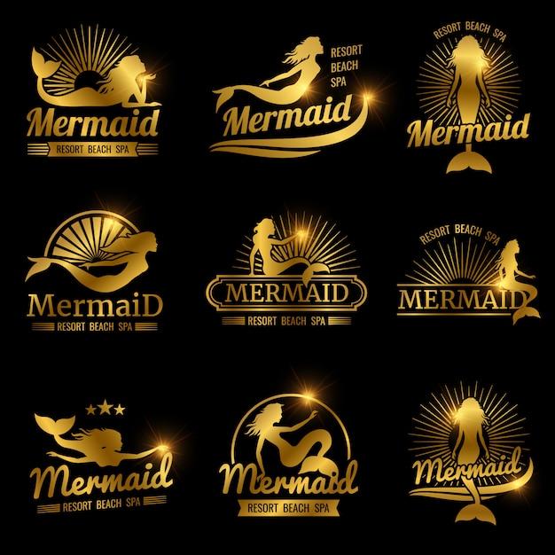 Golden mermaid labels. shiny resort beach spa logos design Premium Vector