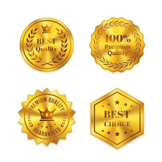 Distintivi di metallo dorato isolati su sfondo bianco. migliore qualità, migliore scelta, garanzia Vettore gratuito