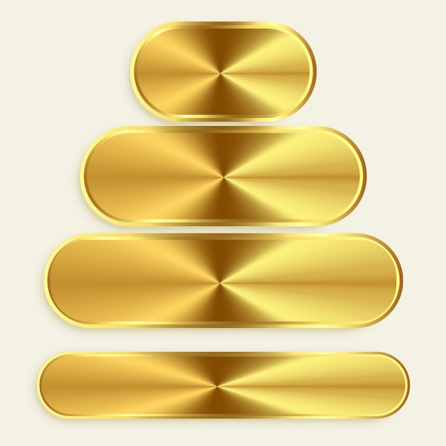 Golden metallic buttons in different sizes Free Vector