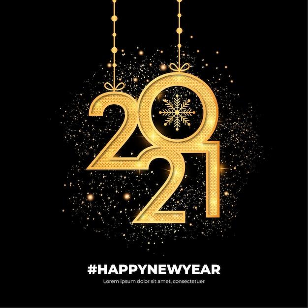 Golden modern happy new year background Free Vector