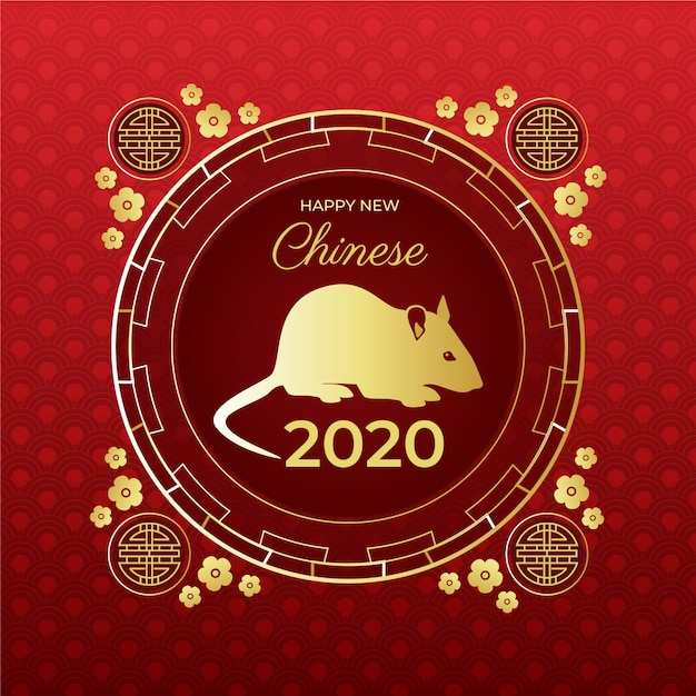 Golden mouse on red gradient background chinese new year Free Vector