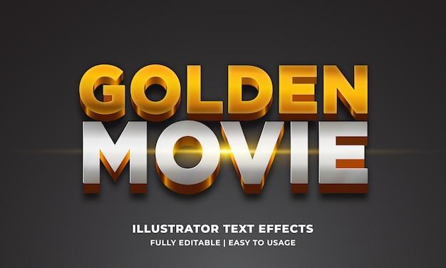 Golden movie 3d text style effect Premium Vector