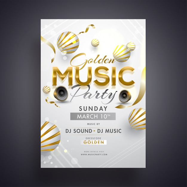 Golden music party invitation card design with woofers and 3d ab Premium Vector