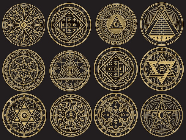 Golden mystery, witchcraft, occult, alchemy, mystical esoteric symbols Premium Vector