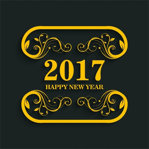 Golden new year 2017 background Free Vector