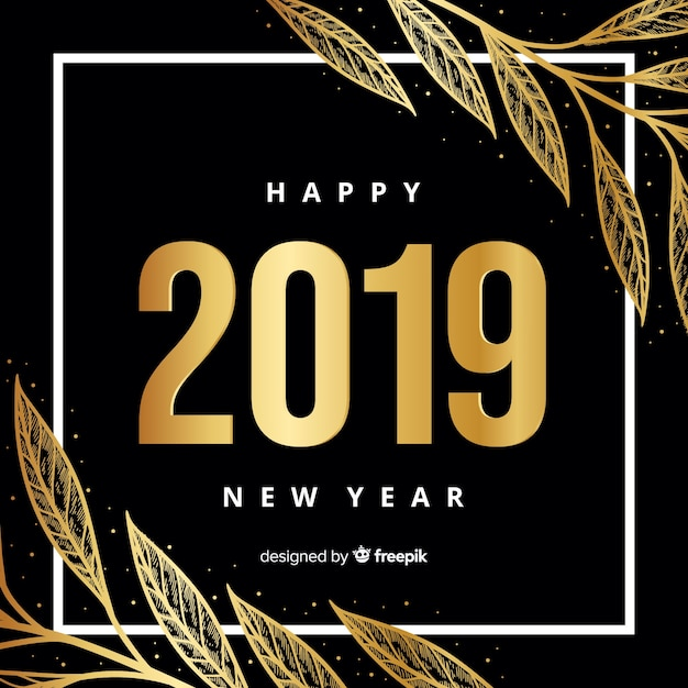 Golden new year 2019 background Free Vector