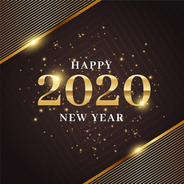 Golden new year 2020 background concept Free Vector