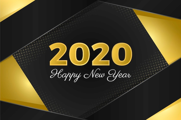 Golden new year 2020 background Free Vector