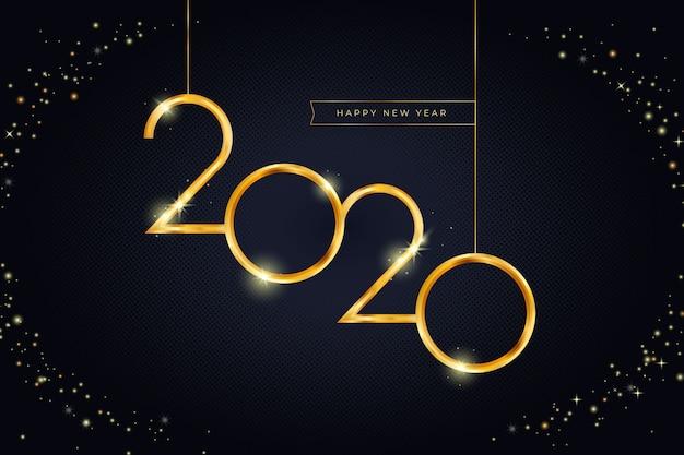 Золотой новый год 2020 фон Бесплатные векторы