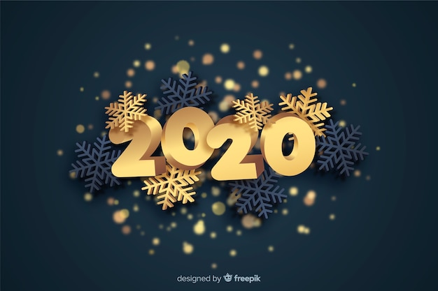 Golden new year 2020 concept Free Vector