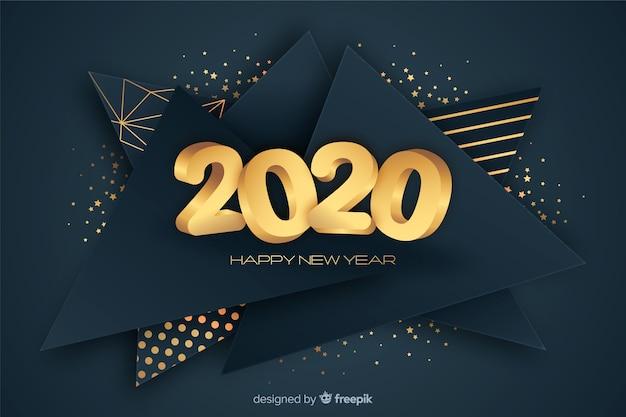 ゴールデン新年2020コンセプト 無料ベクター