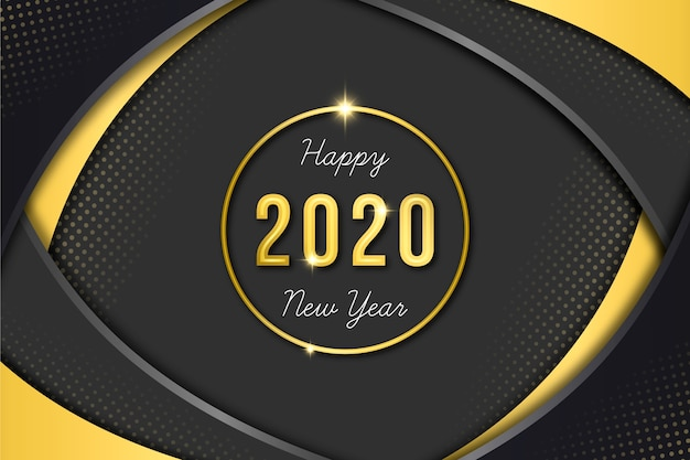 Golden new year 2020 wallpaper Free Vector
