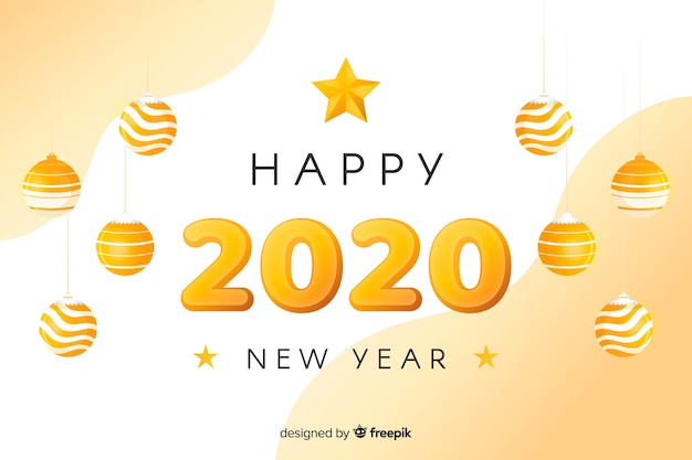 Golden new year 2020 with christmas balls Free Vector