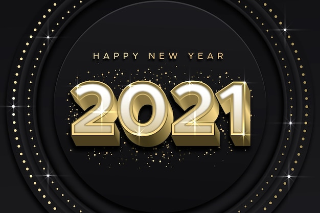 黄金の新年2021年の背景 Premiumベクター