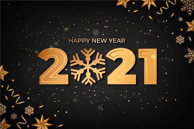 Golden new year 2021 background Premium Vector