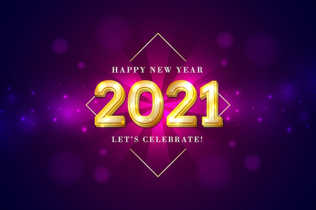 Golden new year 2021 background Premium Vector