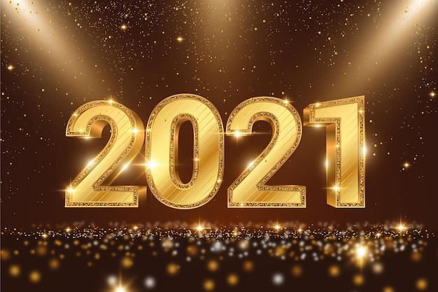 황금 새해 2021 배경 무료 벡터