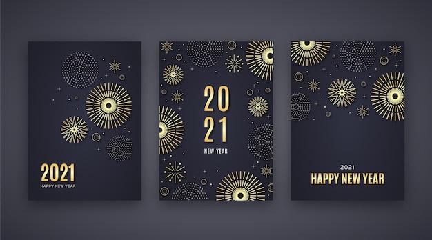 Золотые открытки новый год 2021 Бесплатные векторы