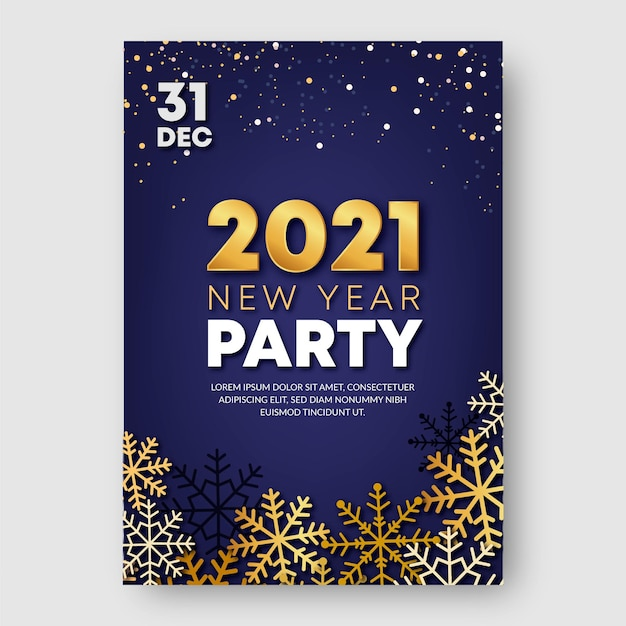 Golden new year 2021 party poster template Premium Vector