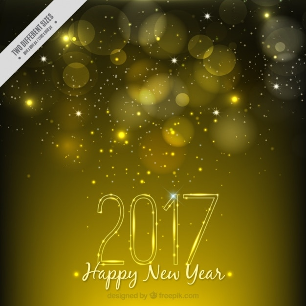 golden new year background with bokeh effect